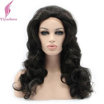 Fashion Short Wigs Synthetic Lace Front Wig Glueless Black Wavy Synthetic lace front wig for black women heat resistant hair