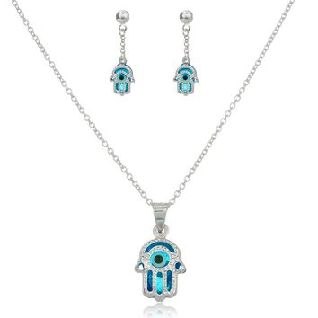 925 Sterling Silver Sapphire Blue Hamsa Hand and Eye Pendant Necklace with Matching Earrings Set Day-First™