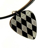 Silver Harlequin Guitar Pick Necklace, the joker