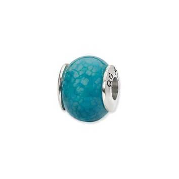 Dark Blue Cracked Agate Stone Bead & Sterling Silver Charm, 13mm