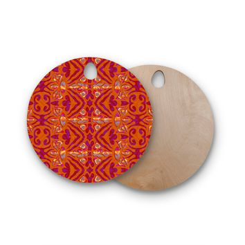 "Miranda Mol ""Ornamental Lace Orange"" Orange Pink Pattern Damask Mixed Media Digital Round Wooden Cutting Board"