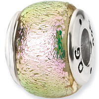 Reflection Beads Silver Pink Melon Dichroic Glass Bead