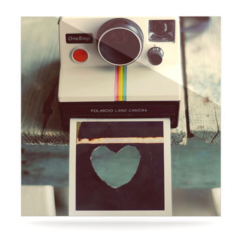 "Cristina Mitchell ""Polaroid Love"" Teal Camera Luxe Square Panel"