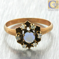 1880s Antique Victorian 14k Solid Yellow Gold Rose Cut Diamond Opal Ring