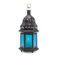 Moroccan Lantern Blue Glass Candle Holder Candleholder (Pack of 2)