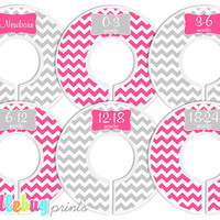 Baby Closet Dividers - Baby Clothing Dividers Bright Pink and Gray Chevron Nursery Closet Dividers - Assembled