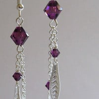 Amethyst Leaf Earrings