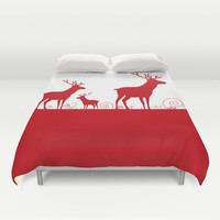 Christmas deers Duvet Cover by Hedehede