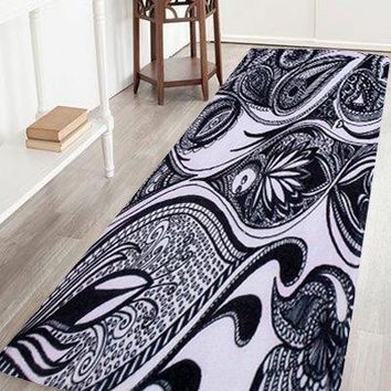 Artistic Peacock Feather Coral Velvet Area Rug