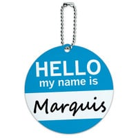 Marquis Hello My Name Is Round ID Card Luggage Tag