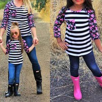 Mommy and Me Matching Colorblock Stripe and Floral Sleeve T-Shirt Top