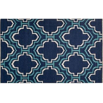Borden Tile Recycled Yarn Indoor/Outdoor Rug - Indigo