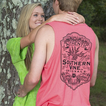Southern Vine Originals Flagship Roots Run Deep Tree Authentic Unisex Salmon Bright Tank Top Shirt