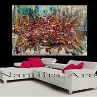 "Abstract Painting, 72"" Original Oil Painting on canvas, Luxury style modern wall art living room wall decor handmade acrylic art decor"