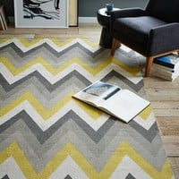 Chevron Cotton Dhurrie Rug - Sun Yellow