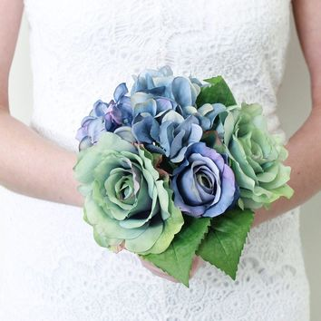 "Silk Rose and Hydrangea Bouquet in Blue Grey and Purple10"" Tall x 10"" Diameter"