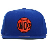 New York Knicks Wool Solid Snapback Hat Blue