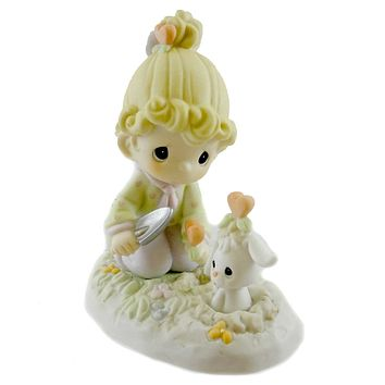 Precious Moments LOVE GROWS WHERE YOU PLANT IT Porcelain Hearts Bunny 120120