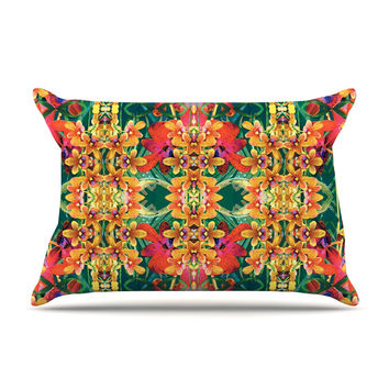 "Dawid Roc ""Tropical Floral"" Orange Pink Pillow Case"