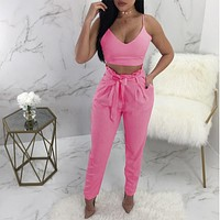 Bow Spaghetti Straps Crop Top High Waist Pencil Long Pants Two Pieces Set