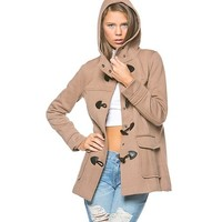 Tassel Hooded Winter Coat in Tan