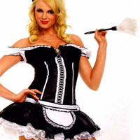 Leg Avenue Naughty French Maid XS Sexy Halloween Costume Cosplay Dress Duster