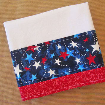 Patriotic Flour Sack Towel - Fabric Trimmed Dish Towel - Lint Free Tea Towels - Fourth of July Decor - Independence Day - Red White Blue