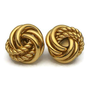 Signed Napier Gold Tone Knot Clip Earrings -Adjustable Screw Hinged Clip On Earrings - Smooth and Textured Rope Twist Knot Love Knot Vintage