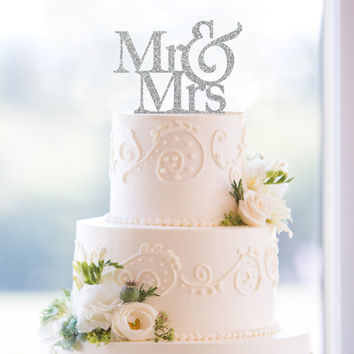 Glitter Mr & Mrs Cake Topper – Custom Wedding Cake Topper Available in 6 Glitter Options