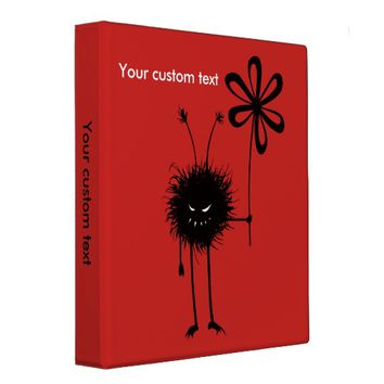 Custom Text Red Evil Flower Bug Binder