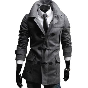 Epaulet autumn winter fashion men trench coat long sleeve wide-waisted casual loose pocket homme poncho horn button office wear