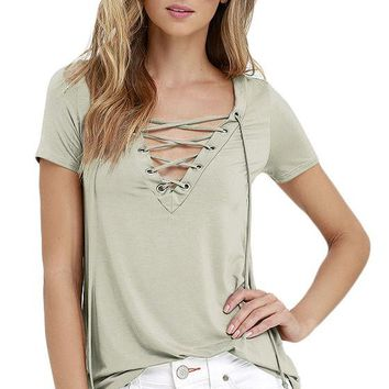 Light colored lace up Vneck