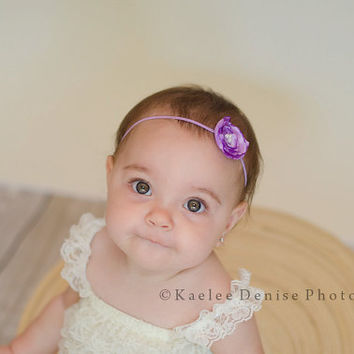 Baby Girl Flower Headband..Baby Headband..Purple Flower...Newborn Headband..Toddler Headband