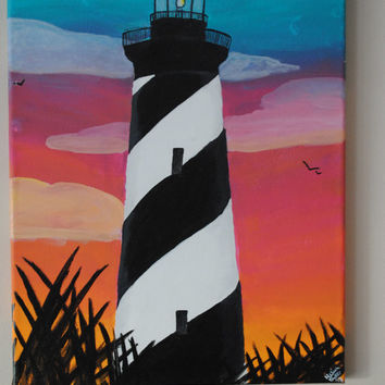Amazing Cape Hatteras Lighthouse Sunset Painting Acrylic Canvas With Couple Silhouette