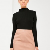 Missguided - Nude Curve Hem Zip Back Faux Leather Skirt