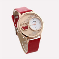 Unique Women Girls Crystal Leather Strap Mrist Watch Gift