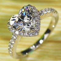 NSCD Simulated Heart Shaped Diamond Wedding Engagement Ring! WOW - Port City Jewelers