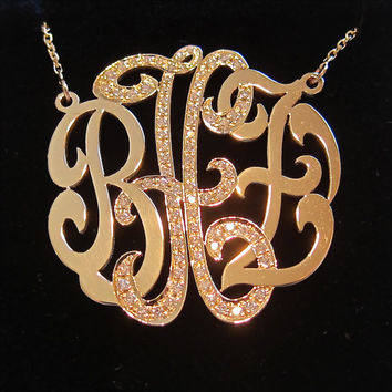 Medium 14k Gold Monogram Necklace with Diamond Middle Initial