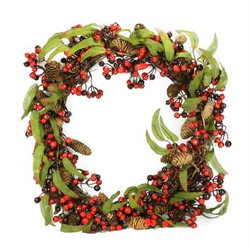 "24"" Red and Black Berry and Pine Cone Artificial Christmas Wreath - Unlit"