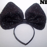 Minnie Mouse Ears Headband Black Sparkle Sequin Jumbo Big hair bow Mickey Mouse Ears, Disneyland, Mickey Mouse Ears, Disneyland