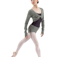 Adult Knit Twist Front Top (Grey Merle)