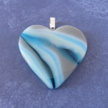Modern Heart, Contemporary Pendant, Blue, Gray Jewelry, Glass Jewelry - Love Lady - 3902 -3