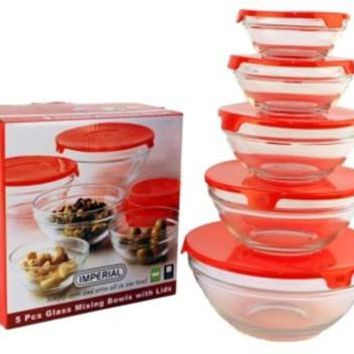 5pcs. Glass Mixing Bowl Set - Red - CASE OF 12