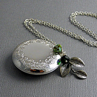 Poem Large Silver Locket, Round Flower Locket, Three Leaf Emerald Sapphire Locket, Picasso Green Stone Locket- BREATHING SCENT