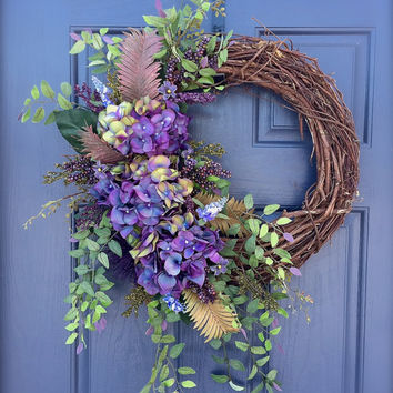 Purple Hydrangea Spring Summer Wreath Green Purple Door Wreaths Spring Decor Full Wreaths