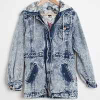 Bellfield Blue Acid Wash Retro Parka