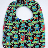 Danicing Musical Frogs Handmade Baby Bib, Infant or Toddler