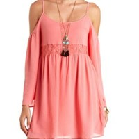 Lace-Trimmed Cold Shoulder Smock Dress by Charlotte Russe - Coral