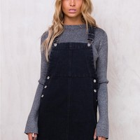 Black Cat Denim Pinafore
