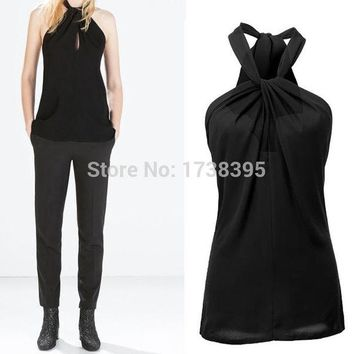 VONESC6 Hot sale Sexy Women's Lady Halter Neck Bow Vest Shirts Girls Backless Solid Tops Casual Women Blouses Blusas Femininas